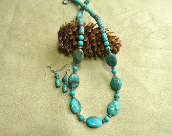 21 Inch Turquoise Sea Sediment or Imperial Jasper Necklace with Earrings
