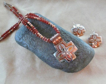 REDUCED!  22 Inch Sterling Silver and Copper Southwestern Cross Necklace with Large Matching Earrings
