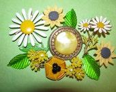 RESERved RESERved Linda Vintage Destash Enamel Small Flower Earrings Rhinestone Jewelry Craft Lot