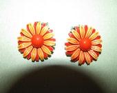 Vintage Silver Tone Two Shades Of Orange Enamel Flower Clip On Earrings