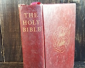 Vintage Books, Decorating Books , Book Bundle, Hawthorne BIBLE , Red Books