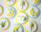 Neutral fondant baby cupcake toppers. Baby fondant toppers. Baby shower cupcake toppers. Baby shower fondant toppers.