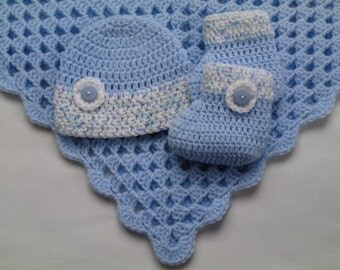 Crochet Baby Blanket, Baby Hat and Booties Set Christening Baptism Gift