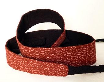 Mini Obi belt Red Namiko - braided straps belt - japanese fabric 100% cotton - ajustable wrap belt