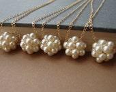 Pearl Cluster Necklace, Swarovski Pearls, Romantic Bride,Bridal Party, Wedding Necklaces, Beaded Necklace,Bridesmaid Jewelry