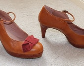 Rare Vintage 90's Sexy Miss Albright Leather Platform Ankle Buckle Strap Heels Sz 8.5