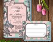 Alice in Wonderland Bridal Shower Invitation and Recipe Card, Printable Bridal Shower Invitation, Mad Hatter Tea Party Bridal Shower Invite