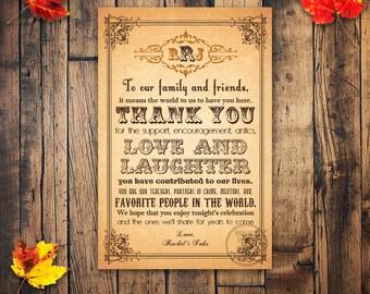 Fall Wedding Thank you Card, Printable Thank You Card, Welcome Bag Tag, Fall Wedding Welcome Bag, Thank You Card, Wedding Favor Tag