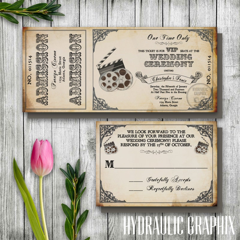 zoom - Movie Ticket Wedding Invitations