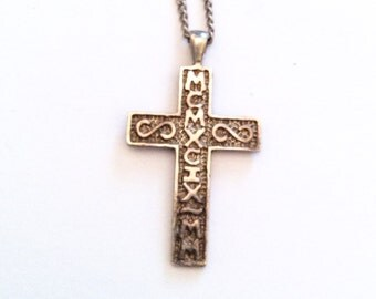 Silver Cross Pendant, Religious, Christianity, Sterling Silver Vintage Jewelry, Gift for Her SPRING SALE