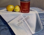 """Original Oil Painting Entitled, """"Fruit, Grocery bag, Honey"""" ~ Still Life Realism Canvas 10"""" Square Wall Art Painting, Rustic Still Life"""