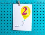 21st Birthday Greetings Card - Design led stationery printed in the UK - Jessica Hogarth Designs cards - Quirky and colourful paper products