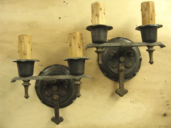 5323 One Pair Wrought Iron Electric Candle Sconces 1920 s