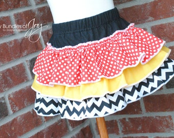 Minnie MouseTriple Ruffle All Around Diaper Cover Bloomer or Skirt in Red or Pink Chevron and Polka Dot Prints