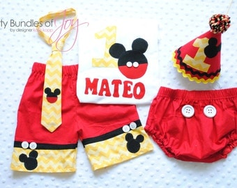 Mickey Mouse Birthday & Cake Smash Outfit Including Free Personalized Shirt, Shorts with Real Buttons, Neck Tie, Party Hat, and Diaper Cover