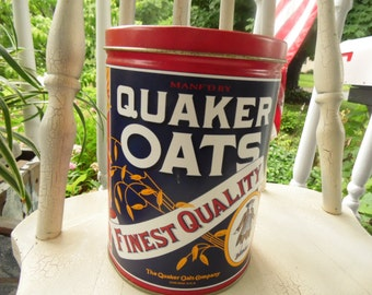 Quaker Oats Tin 1992 Limited Edition Cereal Canister Kitchen Decor