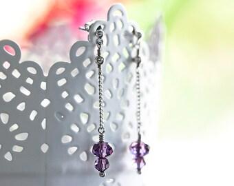 655_Dangle silver earrings, Crystal earrings, Handmade earrings, Earrings chains, Long earrings, Thin earrings, Violet earrings, Wedding.