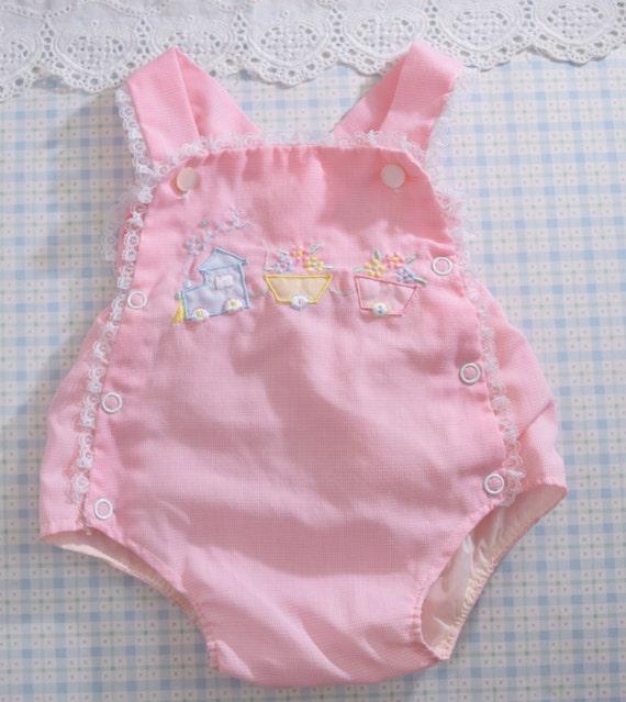 Vintage Baby Girls Sunsuit Clothes Pink Girls Newborn
