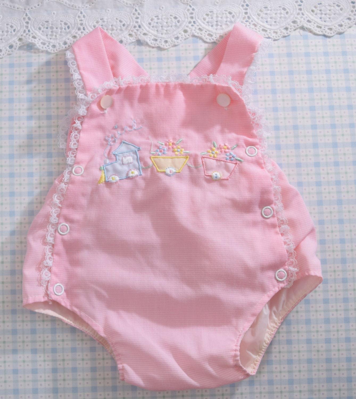 vintage baby sunsuit clothes pink newborn