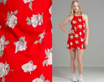 Vintage 90s ROSE Print Mini Dress // Red // Boho Hippie // Nasty Gal