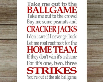 INSTANT DOWNLOAD-Baseball Subway/Wall Art Baseball Home Decor Take me out to the Ballgame Printable/Wall Art