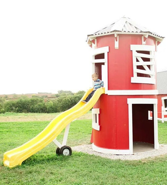 The silo playhouse by imaginethatplayhouse on etsy for Barn and silo playhouse