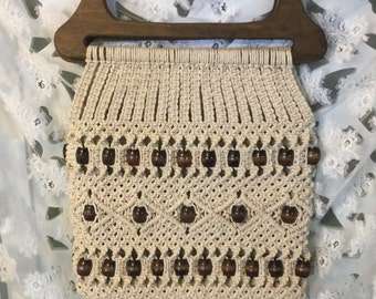 Sale 25% off enter coupon code CLEARANCE Vintage Macramae And Wood Beaded Purse with Wood Handles