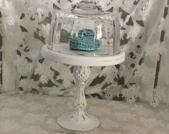 Shabby Chic Wood Pedestal Cloche, Small Cake or Cupcake Stand, White Shabby Decor, Cottage Chic, Wedding Decor