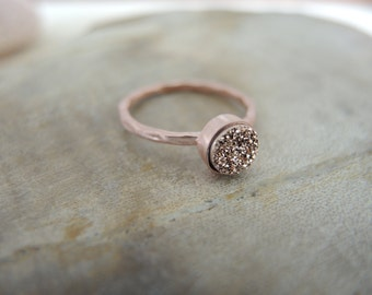 SALE, Druzy Ring, Rose Gold Druzy Ring, 18K Rose Gold Vermeil Bezel Ring 6mm, Druzy Stone Ring, Druzy Jewelry Gifts For Her, Rose Gold Ring