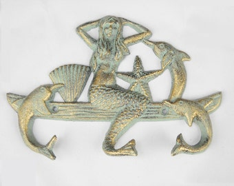 """8.5"""" Cast iron metal Mermaid and Dolphins wall hooks hanger green verdigris patina style CAST02"""