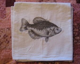 Crappie Sketch Flour Sack Dish Towel