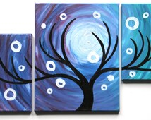 """Original Contemporary Modern Multiple Canvas Oil Painting """"Afterglow I"""""""