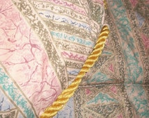 "BIG SUMMER SALE Vintage reversible Comforter Quilt Persian Design w Gold braid trim Twin / Full 60 x 80"""