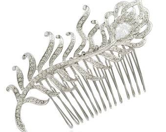Feather Hair Comb Clear Feather Hair Comb Woodland Hair Accessory Wedding Bridal Hair Comb Feather Jewelry Boheimian 3275