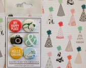 Badges / Adhesive Buttons Hello Sunshine for Project Life, Planners and Scrapbooking