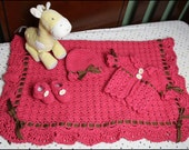 Shelly Baby Set - Baby Outfit - CROCHET PATTERN - Hat, Sweater, Booties, Baby Blanket