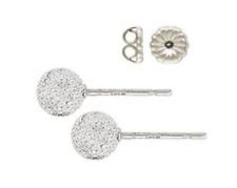 925 Sterling Silver 5mm Stardust Ball Post Earrings 1pair / 4pcs(post+clutch)