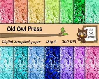 Digital paper, Splattered paper, digital scrapbook paper, rainbow colors, Digital Scrapbook, Paper Pack, Scrapbooking, Background Papers