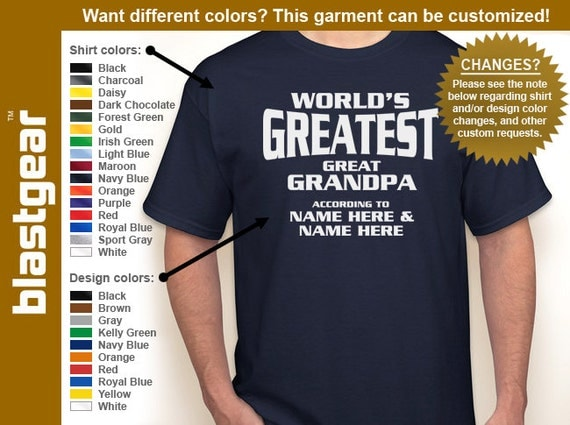 Custom World's Greatest Great Grandpa with any names T-shirt — Any color/size - Adult S, M, L, XL, 2XL, 3XL, 4XL, 5XL