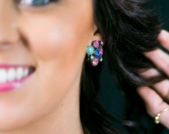 High End Rhinestone Vintage Earrings. MultiColor Clip On - Trendy Fashion Jewelry