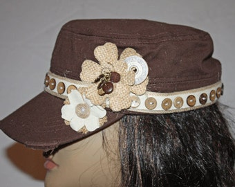 Brown Vintage Style Cadet Cap with Wooden Buttons Embellishments
