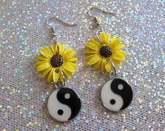 yin yang sunflower earrings