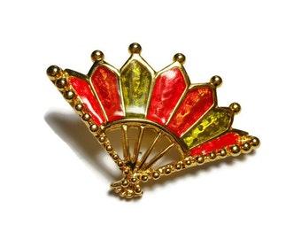 Bob Mackie fan brooch, red, green and orange enamel fan, gold plated, designer to the stars