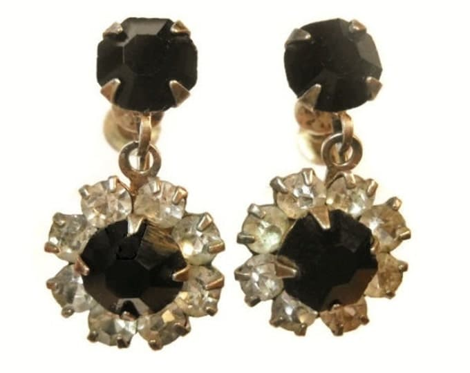 R.L. Griffith rhinestone dangle earrings black and clear prong set signed and marked sterling