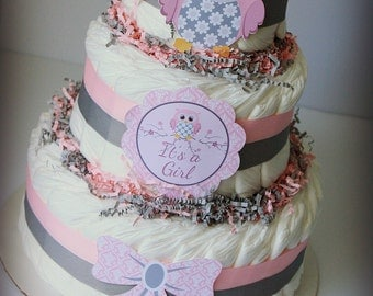 Owl Baby Shower Diaper Cake in Pink and Grey/Owl Baby Shower/Owl Centerpiece