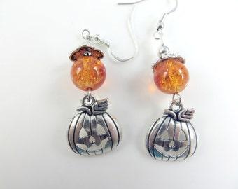 Orange pumpkin halloween earrings