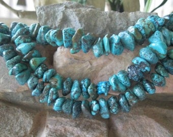 Natural Turquoise Nugget Chip Dark Blue Green 9-14 MM Medium - large 16""