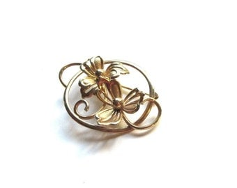 Forstner 12K GF Flower Brooch Gold Filled Round Open Metalwork Floral Pin Mid Century Classic Collar Pin