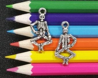 10 PCS - Bones Skeleton Halloween Silver Charm Pendant C0418