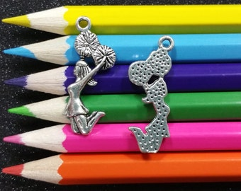 10 PCS - Cheerleader Cheering Pom Poms Cheer Sports Silver Charm Pendant C0505